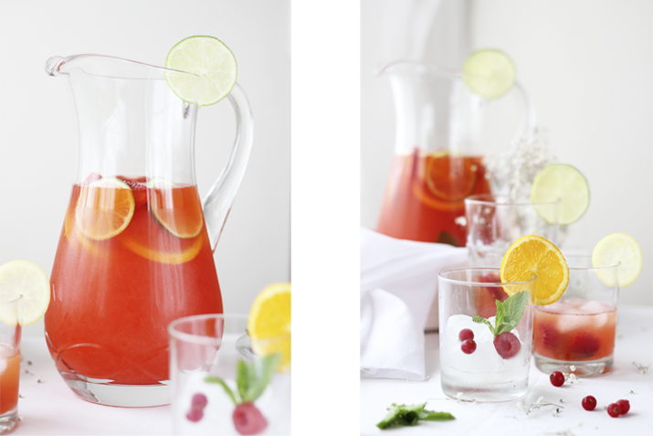 limonada rosa con hierbabuena