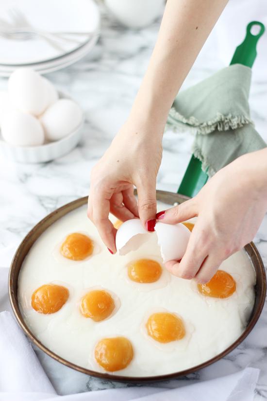 Pastel huevos fritos