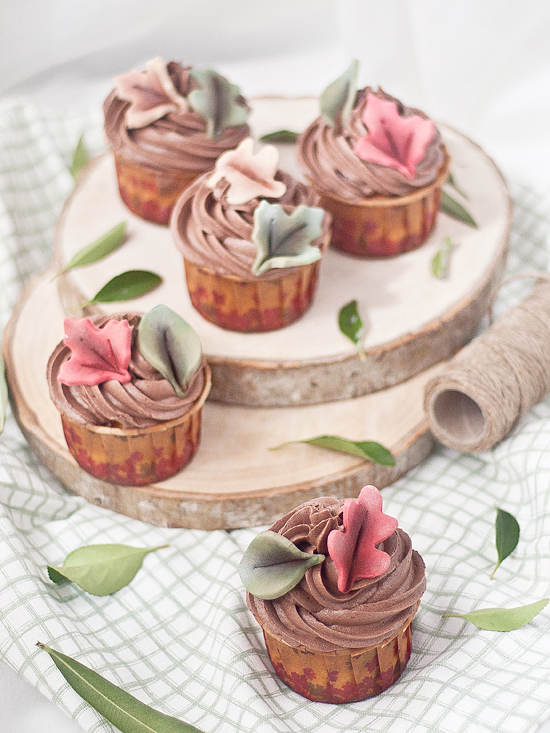 Cupcakes de chocolate y calabaza