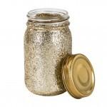 Jarrón De Cristal Dorado Glitter