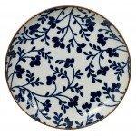 Plato De Cerámica Azul Flores Ligne