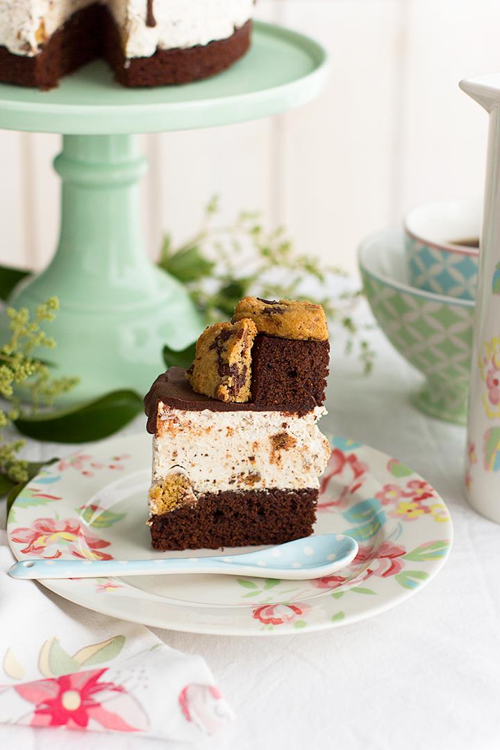 tarta helada de cookies y brownie