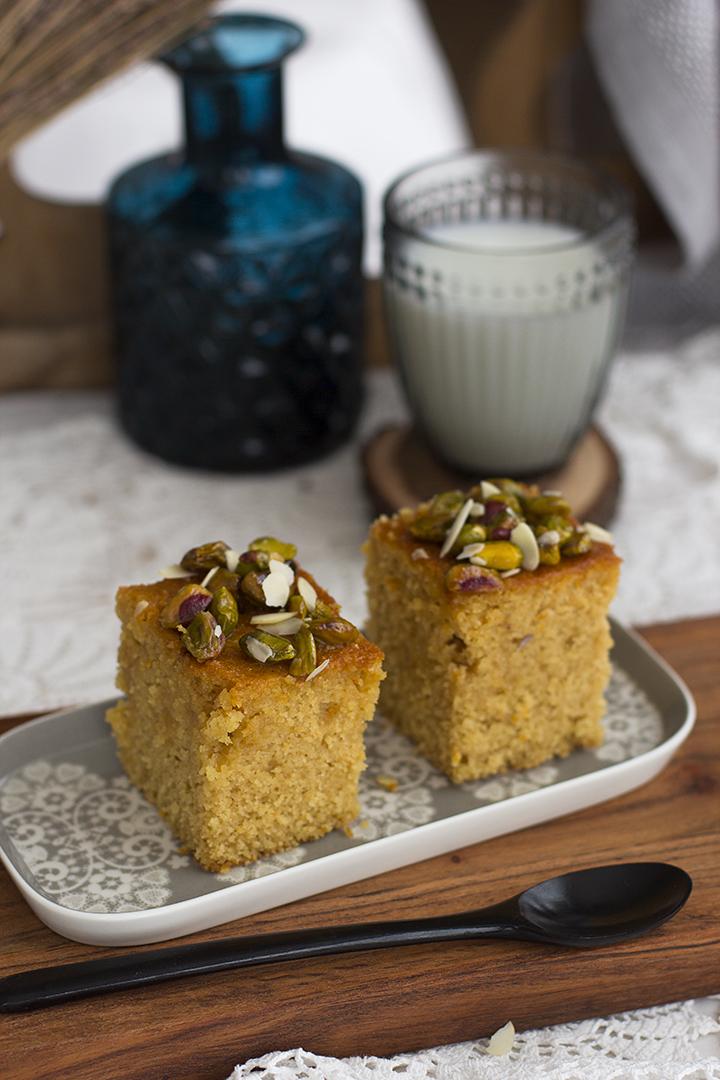 Pastel de naranja con miel y pistachos receta griega