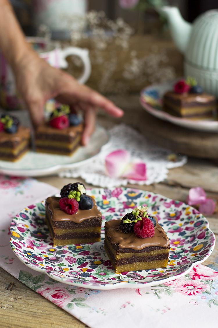 Cuadraditos de Cacahuete y Chocolate receta saludables y fácil