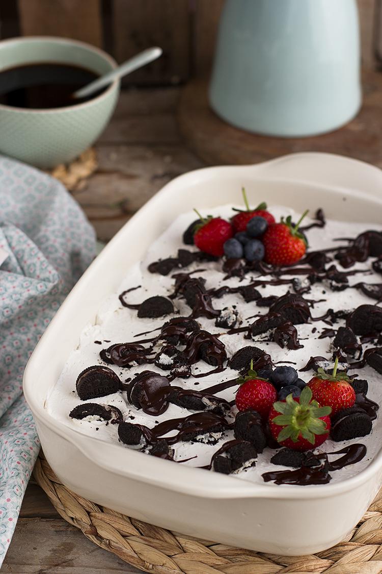 Locura de oreo Lasaña de Oreo, pudding de chocolate y crema de queso