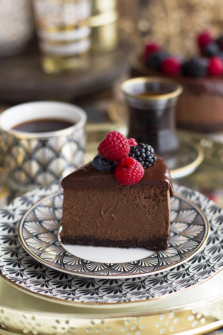 Cheesecake de Chocolate y aceite de oliva receta saludable