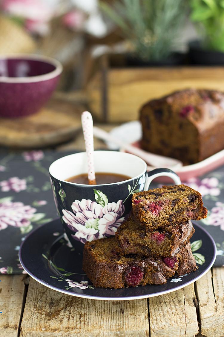 Plum Cake de Frambuesa y Chocolate super sano y delicioso