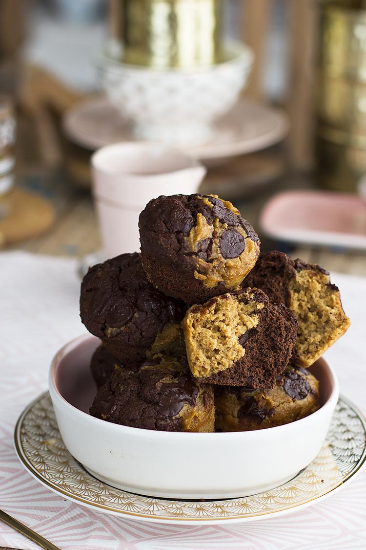 Muffins de Chocolate y Cacahuete saludable, sencillo y rico