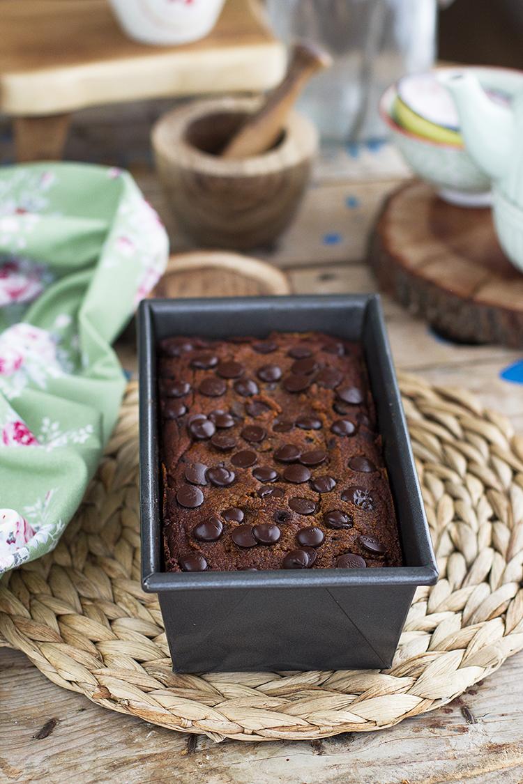 Delicioso plum Cake de calabaza y chocolate sin gluten y sencillo de hacer.