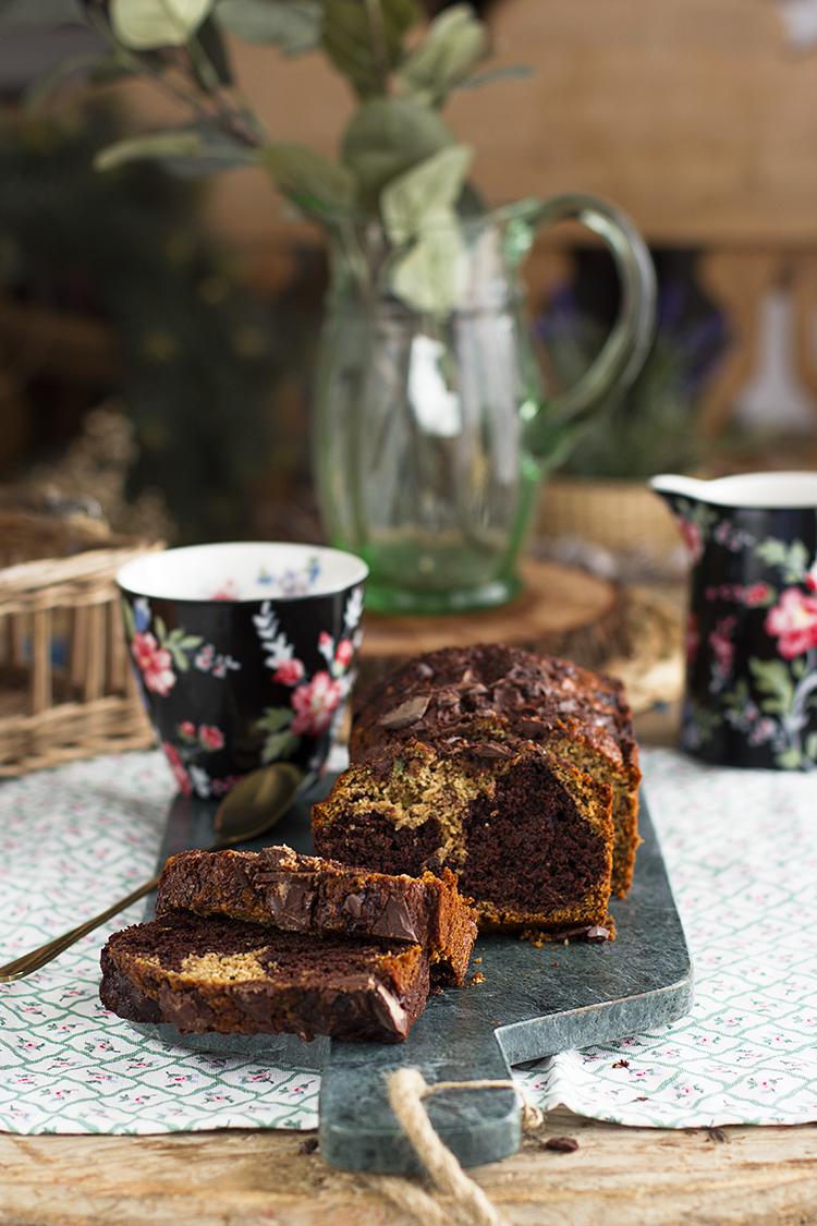 Plum Cake Marmolado de Chocolate y Calabacín saludable