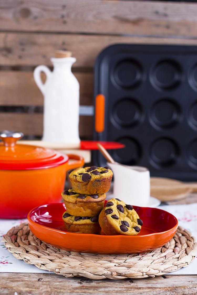 Muffins de Calabaza y Chocolate, super extra esponjosos y faciles